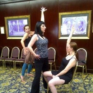 Shoshanna Evers learns how to lap dance at Romanticon 2012