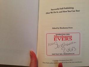 Shoshanna Evers autographed book plate